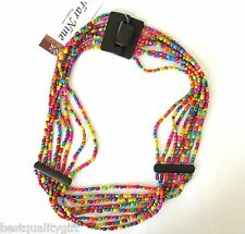 NEW BROWN COCONUT WOOD+MULTI-COLOR BEADS STRETCHY BELT+HOOK CLOSURE