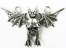 DRAGON HOLD SKULL STERLING SILVER ROCK BIKER PENDANT NR