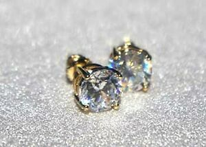 CZ Swarovski Screw Back Round Solitaire Stud Earrings 18kt Gold or White Rhodium