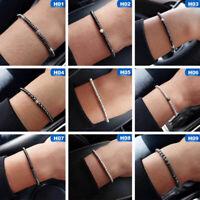 4mm Herren Silber Hämatit Scheibe Perlen Edelstein Stretch Armband NEU