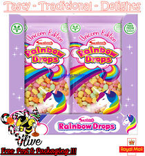 Swizzels RAINBOW DROPS Unicorn Edition 80g Large Bags Traditional Retro - 8 bags