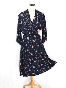 Vintage Kamore Floral Roses Wrap Coat House Dress w Pockets Blue Pink Satin - M