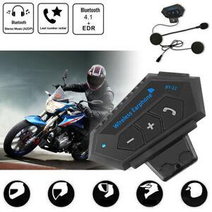 BT-12 Bluetooth Motorcycle Helmet Headset Wireless Motorbike Headphone FM GPS UK