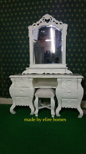 Ivory Cream designer 130cm French style Rococo dressing table carved fr mahogany
