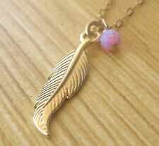 Feather necklace, gold feather, feather pendant, opal necklace,delicate necklace