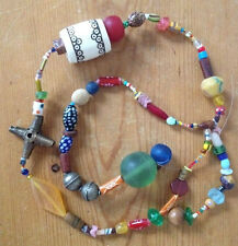 Vintage African Glass Brass Bone Colorful Lot String Beads for Unique Necklace