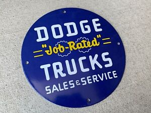 Dodge Trucks Sales Service Enamel Advertising Porcelain Gas Sign