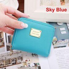 Fashion Women Girls PU Leather Wallet Card Holder Zip Coin Purse Clutch Handbags Sky Blue