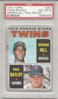 1970 Topps #267 TWINS ROOKIE STARS, PSA 8 NM-MT, HILL / RATLIFF, L@@K !