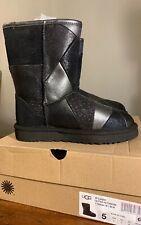 UGG Classic Glitter Patchwork BLACK Suede Fur Sparkle WOMAN'S BOOTS SZ 5 1100054
