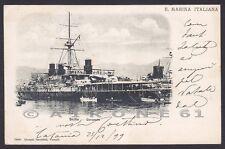 CORAZZATA SICILIA 03 NAVE MARINA DA GUERRA WARSHIP Cartolina viaggiata 1899