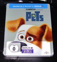 Pets 3D Limiterte steelbook Edizione 3D + 2D blu ray più Veloce Nuovo &