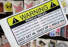 Funny Warning Label Vehicle Rules Humor Car Decal Vinyl Sticker LOL 4x4 V8 JDM