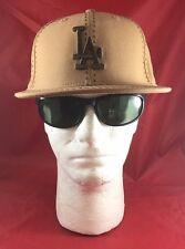 New Era 59Fifty MLB LA Dodgers Tan With Brown Stitch W/Brown LA Flat Bill Hat