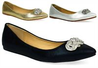 New Ladies Stunning Pointed Toe Flat Party Shoes - Slip On Shoes UK Sizes 3-9
