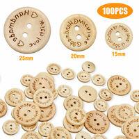 100pcs Wood Love Heart Handmade 2 Holes Wooden Buttons Sewing Scrapbooking DIY