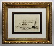 "1800s SEYMOUR HADEN ORIGINAL Nautical Etching ""Brig at Anchor"" Framed SIGNED COA"