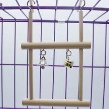 HB- Wood Pet Bird Parrot Parakeet Cockatiel Hanging Bell Stand Cage Swing Toy Gr
