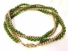 """Quality Antique Estate 14/20 14K Gold Filled JADE Add A Bead Necklace 18"""""""
