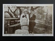 Charlie Chaplin CHARLIE IN THE PARK Red Letter Photocard c1915