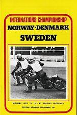 Speedway Programme>NORWAY-DENMARK v SWEDEN July 1972 @ Reading