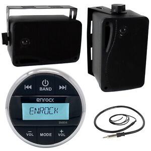 "3.5"" Black Box Speakers, Enrock EM856 Marine Audio AUX USB Radio, Antenna"