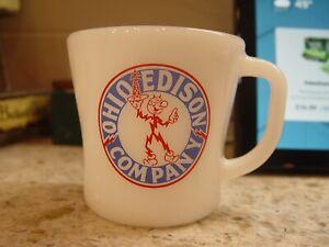 Federal Milk Glass Reddy Kilowatt Ohio Edison Electric Co. Coffee Mug