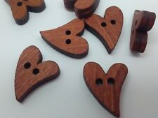 """Wooden Heart Buttons 20mm (3/4"""") Dark Brown Valentine Hearts Sewing Buttons"""