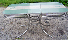 Vintage FORMICA & CHROME TABLE 1950s - Green & Gray - Cracked Ice - GUC!