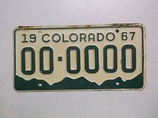 1967 Colorado SAMPLE ZERO License Plate Tag Rocky Mountains Gas Station Sign