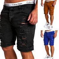 Men's Casual Slim Short Jeans Stretch Skinny Pants Denim Shorts Hole Trousers