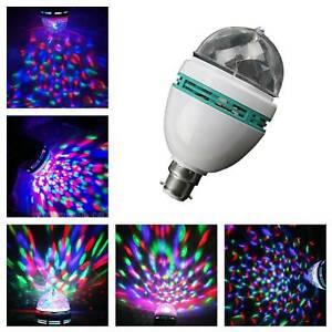 LED Rotating Disco Light Bulb RGB Projector Multi Coloured Bayonet Party Lamp