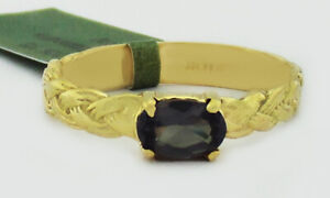 ALEXANDRITE 0.68 Cts ROPE DESIGN RING 10k GOLD ** New With Tag **
