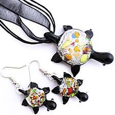 Silver Black Turtle Handmade Lampwork Glass Murano Pendant Necklace Earrings Set