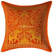Elephant Design Indian Cushion Cover Orange Brocade Pillow Case Cover Throw