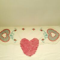 Vintage Hand Embroidered Table Runner and Crochet Pink Heart Shaped Doily Linen