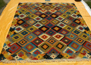 Turkish Oriental Area Rug Afghan Handwoven Ghazni Wool Kilim Carpet 8x10 feet