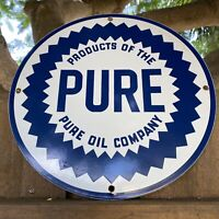 VINTAGE PURE OIL COMPANY PORCELAIN METAL SIGN USA GAS STATION PUMP ADVERTISING