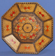 Vintage hand made wall decor pyrography wood plate