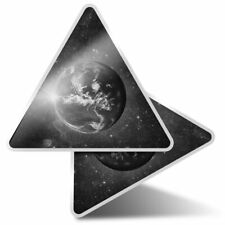 2 x Triangle Stickers  10cm - BW - Planet Earth Space Moon  #41225