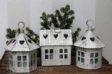 3 HANGING METAL WHITE DUTCH LANTERN HOUSE TEA LIGHT CANDLE HOLDER CHRISTMAS