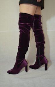 Dune Over The Knee  Fashion Boots Velvet Burgundy Women Size 7