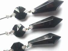 5 Black 38mm Icicle Chandelier Crystals Prism Pendant Suncatchers