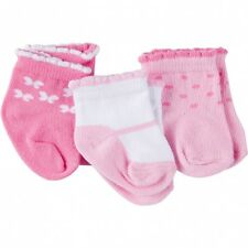 Gerber Baby Girls 3 Pack Socks Size 0-6 Months New Pink, Butterfly, Dots Design