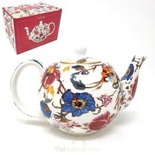 Large Poppy Floral Design Colourful Fine China Tea Pot Gift Boxed
