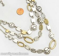 Chico's Signed Necklace Gold & Silver Tone Long Triple Chains and Charms