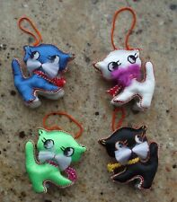 Vintage Christmas Tree Ornaments CAT KITTENS Chinese Silk Animals Embroidered