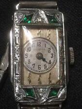 Antique 1920's Art Deco Bulova Ladies Wrist Watch W/ Emeralds & Diamonds 14K