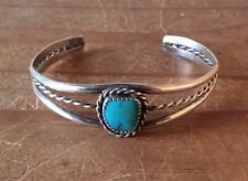 Navajo Vintage Sterling Rare Royston Turquoise Rope Design Bracelet Signed