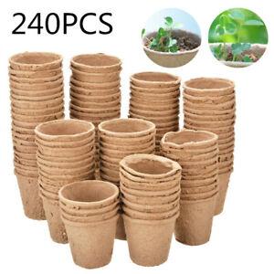240X Biodegradable Seedling Pots Seed Starting Garden Pots Fibre Peat Pots AU